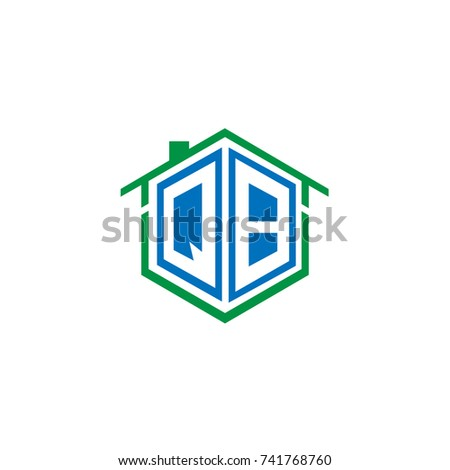 Initial Letter Q, B, QB Hexagonal Shape Logo Design with House Home Icon