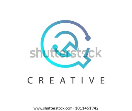 colorful abstract logo with letter q download free vector art