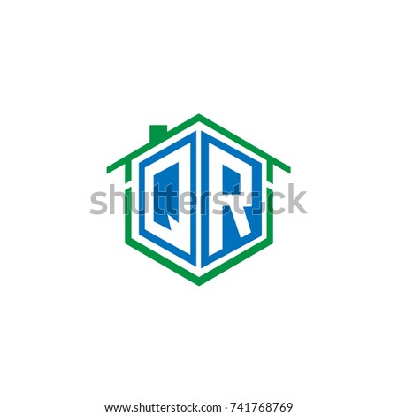 Initial Letter Q, R, QR Hexagonal Shape Logo Design with House Home Icon