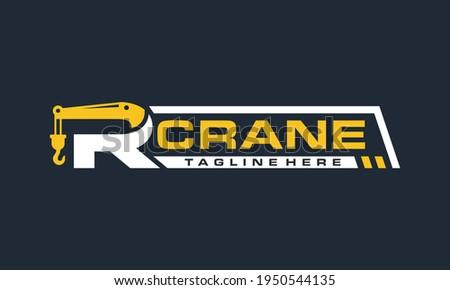 initial letter R crane logo Foto stock ©