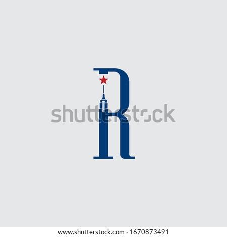 Initial letter R logo.new york city logo design, Empire State Building letter logo Stock fotó ©