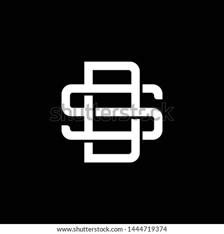 Initial letter S and D, SD, DS, overlapping interlock monogram logo, white color on black background