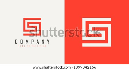 Initial Letter S and G Linked Logo. Red and White Geometric Square Shape Origami Style isolated on Double Background. Usable for Business and Branding Logos. Flat Vector Logo Design Template Element.
