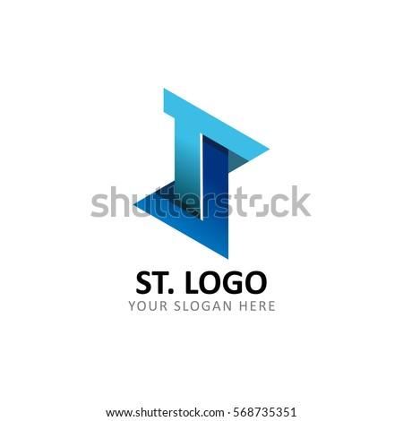 Initial Letter S T or T J Logo Stock fotó ©