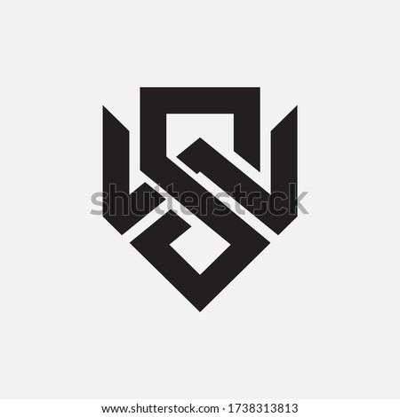 Initial letter S, W, SW or WS overlapping, interlock, monogram logo, black color on white background