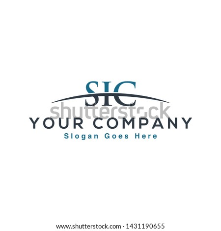 Initial letter SIC, overlapping movement swoosh horizon logo company design inspiration in blue and gray color vector Foto stock ©
