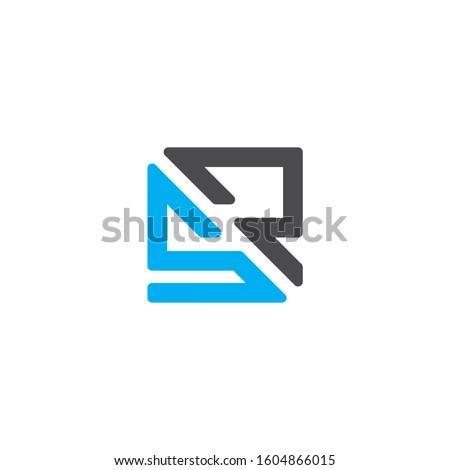 Initial letter SR, RS, SP or PS logo template with geometric square line art illustration in flat design monogram symbol Stock fotó ©