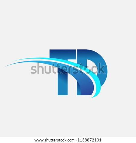 initial letter TD logotype company name colored blue and swoosh design. vector logo for business and company identity.