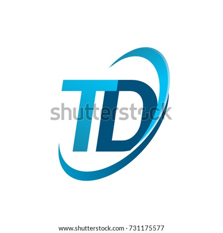 initial letter TD logotype company name colored blue swoosh design concept. vector logo for business and company identity.