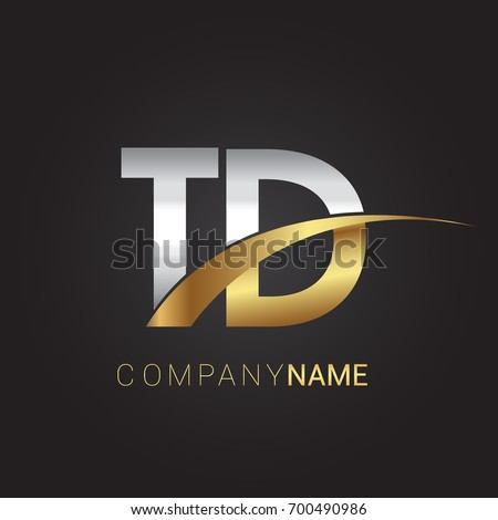 initial letter TD logotype company name colored gold and silver swoosh design. isolated on black background.