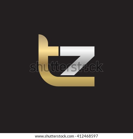 initial letter tz linked round lowercase logo gold silver black background Stock fotó ©