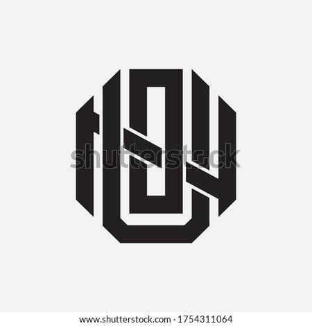 Initial letter UON, UNO, OUN, ONU, NUO  or NOU overlapping, interlock, monogram logo, black color on white background Foto stock ©