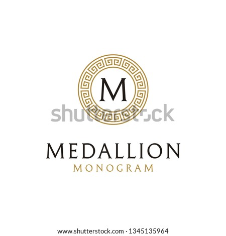 Initial Letter Vector Logo design with ancient greek circle border frame