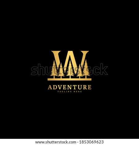 Initial letter W logotype. Natural adventure logo with mountain and forest panorama, fit for company and business logo. Zdjęcia stock ©