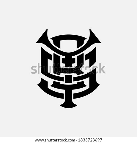 Initial letter Y, B, S, YBS, YSB, BSY, BYS, SYB or SBY overlapping, interlock, monogram logo, black color on white background
