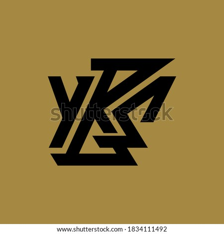 Initial letter Y, B, S, YBS, YSB, BSY, BYS, SYB or SBY overlapping, interlock, monogram logo, black color on gold background