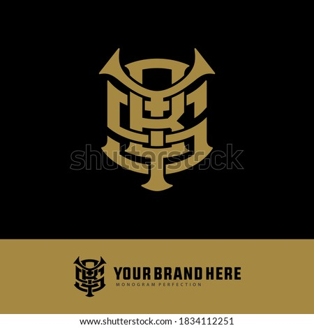 Initial letter Y, B, S, YBS, YSB, BSY, BYS, SYB or SBY overlapping, interlock, monogram logo, gold color on black background