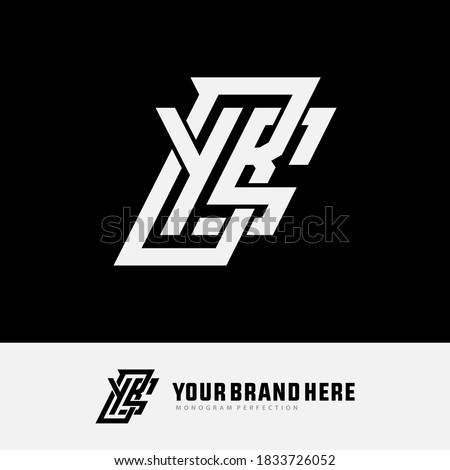 Initial letter Y, B, S, YBS, YSB, BSY, BYS, SYB or SBY overlapping, interlock, monogram logo, white color on black background