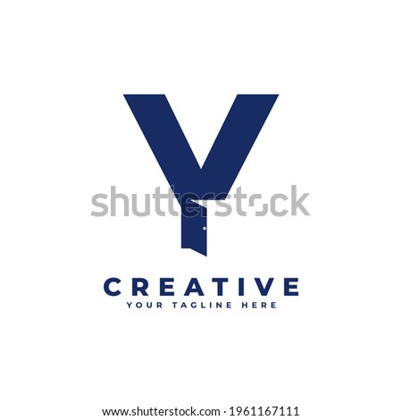 Initial Letter Y with Door Negative Space Logo Design. Usable for Construction Architecture Building Logo Zdjęcia stock ©