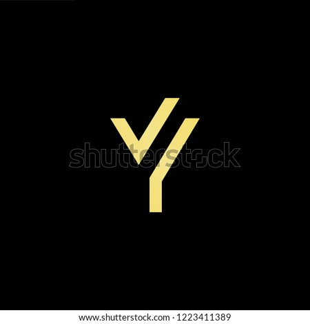 Initial letter Y YY YV VY minimalist art logo, gold color on black background.
