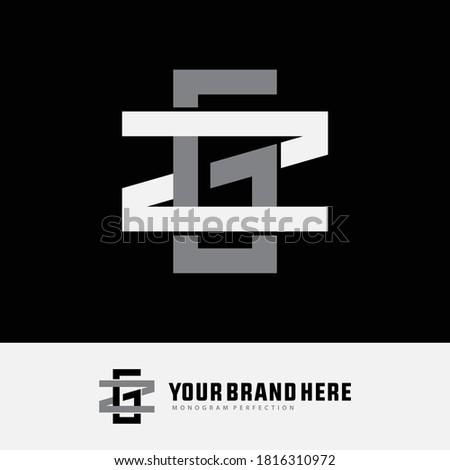 Initial letter Z, G, ZG or GZ overlapping, interlock, monogram logo, white and gray color on black background Stok fotoğraf ©