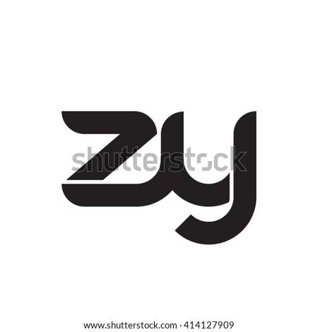 initial letter zy linked round lowercase monogram logo black Zdjęcia stock ©