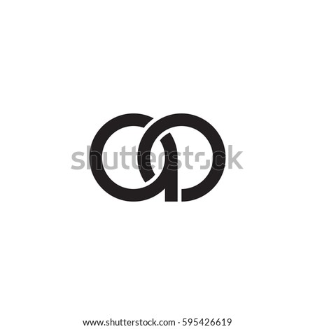 Initial letters ao round linked chain shape lowercase logo modern design monogram black #595426619