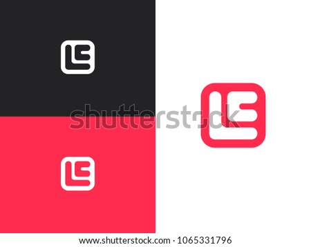 Initial letters E, L and C in square rounded shape. Logo icon design template elements. Stock fotó ©
