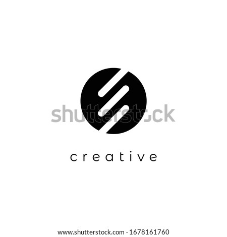 Initial letters E logo template design in rounded shape. Logo icon design template elements. Monogram. Linear logo. Simple vector sign illustration in a modern style. stock photo