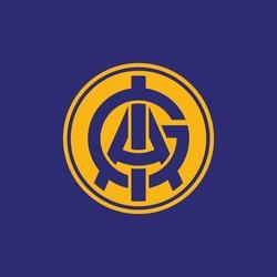 Initial letters G, I, A, GIA, GAI, IGA, IAG, AGI or AIG overlapping, interlock, monogram logo, blue and yellow color on blue background