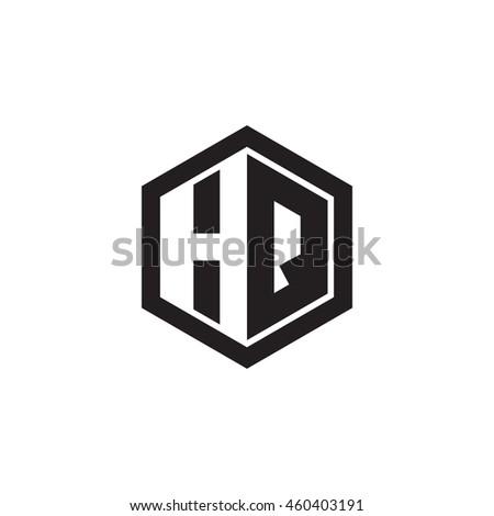 Initial letters HQ negative space hexagon shape monogram logo