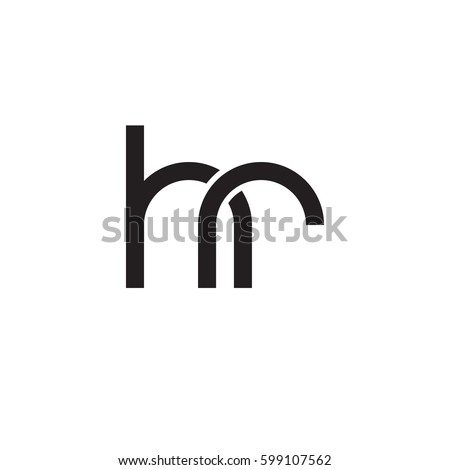 Initial letters hr, round linked overlapping lowercase logo modern design monogram black