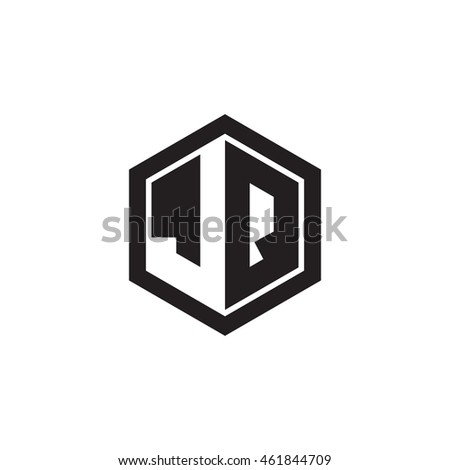 Initial letters JQ negative space hexagon shape monogram logo