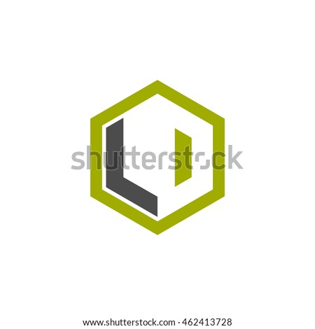 Initial letters LD, LO, negative space hexagon shape logo green black gray