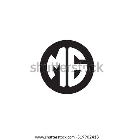 Initial letters MG circle shape monogram black simple logo