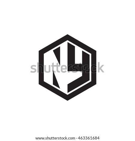 Initial letters NY negative space hexagon shape monogram logo Stok fotoğraf ©