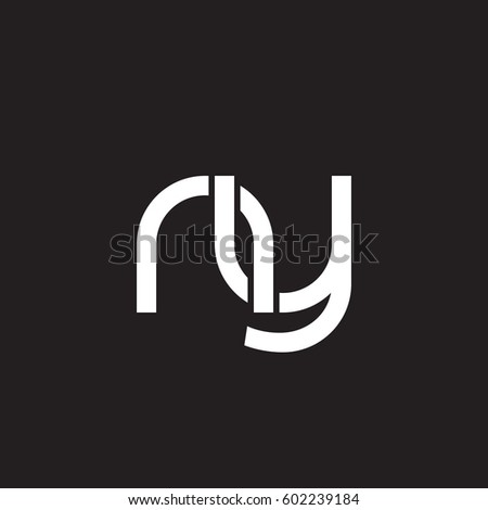 Initial letters ny, round overlapping lowercase logo modern design white black background Stok fotoğraf ©