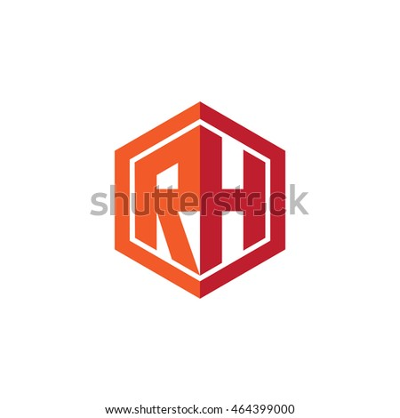 Initial Letters Rh Hexagon Shape Logo Red Orange Stock Vector ...