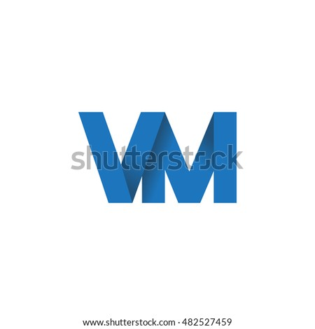 Initial letters VM overlapping fold logo blue