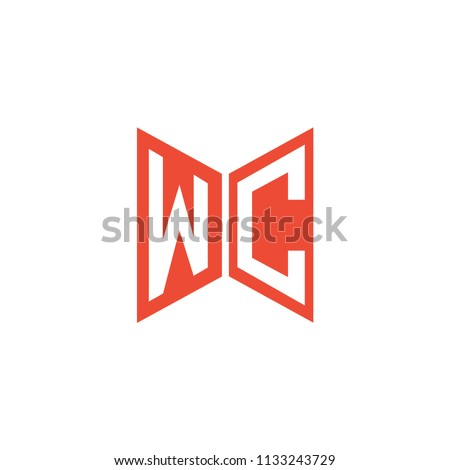 Initial Letters WC Logo Design Linked Logo, Hexagonal Shape