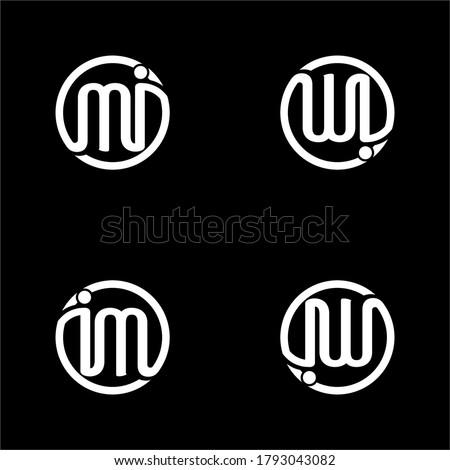 Initial logo design of the letters MI, IM, IW or WI Zdjęcia stock ©