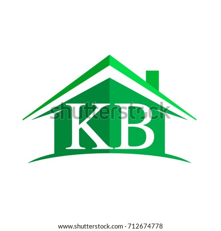 initial logo KB with house icon and green color, business logo and property developer.