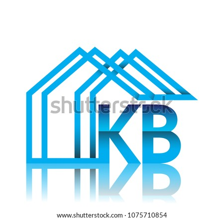 initial logo KB with house icon, business logo and property developer.