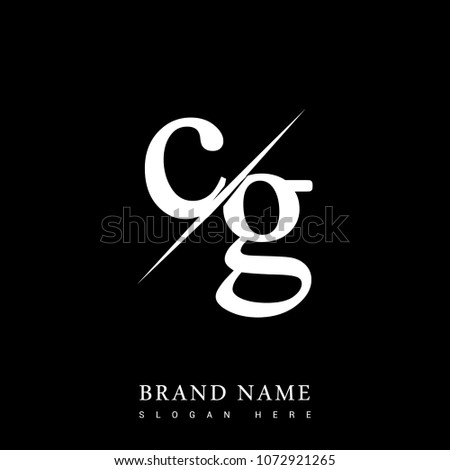 initial logo letter CG for company name black and white color and slash design. vector logotype for business and company identity.