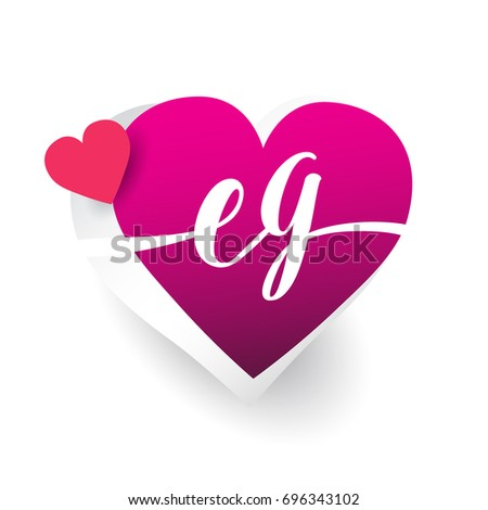 Initial Logo Letter Eg With Heart Shape Red Colored Logo Design For