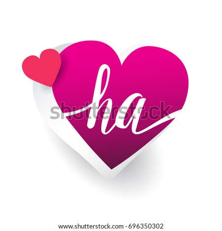 initial logo letter ha with heart shape red colored logo design for wedding invitation