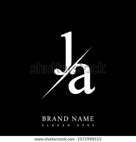 initial logo letter JA for company name black and white color and slash design. vector logotype for business and company identity.