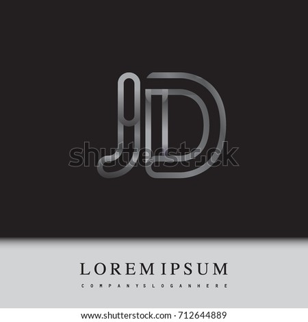 Initial Logo Letter Jd Linked Outline Silver Colored Rounded