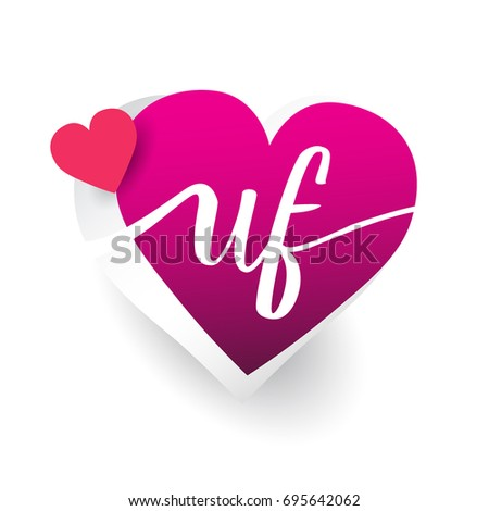 initial logo letter UF with heart shape red colored, logo design