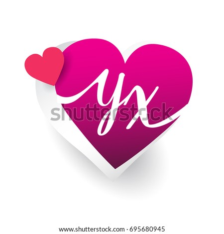 Initial Logo Letter Yx With Heart Shape Red Colored Logo Design For